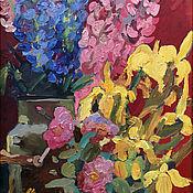 handmade. Livemaster - original item Oil painting. Country flowers. Irises. Lupins. Roses. Garden plants. Handmade.