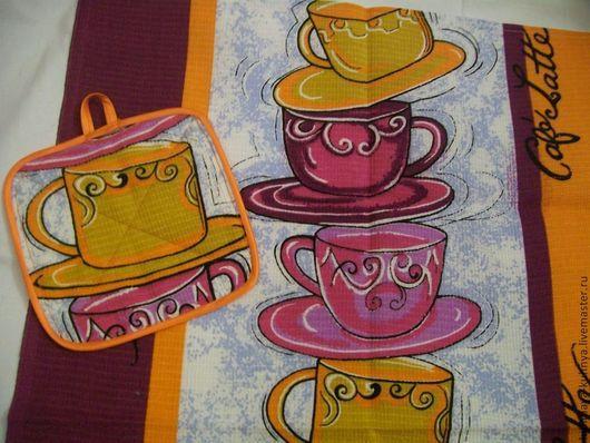 """Кухня ручной работы. Ярмарка Мастеров - ручная работа. Купить Комплект кухонное полотенце и прихватка """"Кофе латте"""". Handmade. Кухня"""