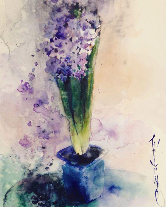 Картины цветов ручной работы. Ярмарка Мастеров - ручная работа. Купить Акварель Гиацинт. Handmade. Акварель, цветок, картина, цветение