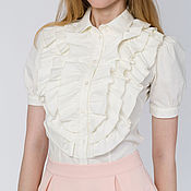 Одежда handmade. Livemaster - original item White blouse with frill. Handmade.