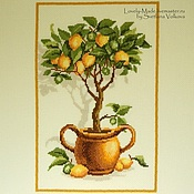 Картины и панно handmade. Livemaster - original item Lemon tree. Hand embroidery cross. Handmade.