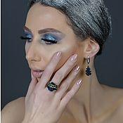 Серьги-кольца ручной работы. Ярмарка Мастеров - ручная работа Серебряный Комплект кольцо и серьги:  Azurite - 2 reason. Handmade.