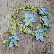 Украшения handmade. Livemaster - original item Jewelry set leather Blue Orchid. Handmade.