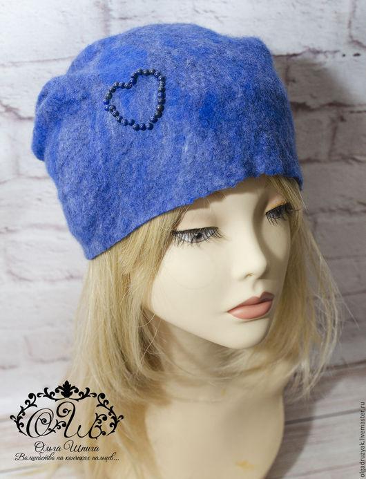 Валяная шапка бини из коллекции Natural Stones `Lapis lazuli`