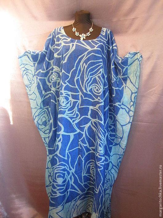 """Пляжные платья ручной работы. Ярмарка Мастеров - ручная работа. Купить """"Голубые розы"""" легкое платье для отдыха. Handmade."""