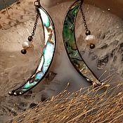Украшения handmade. Livemaster - original item Moon-shaped earrings made of natural mother of pearl with pearls (e-022). Handmade.