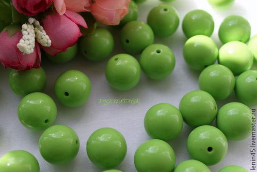 Для украшений ручной работы. Ярмарка Мастеров - ручная работа. Купить Бусины  20 мм зеленый. Handmade. Ярко-зелёный