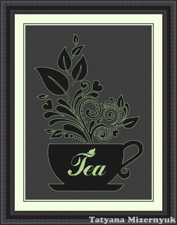 """Вышивка ручной работы. Ярмарка Мастеров - ручная работа. Купить Схема для вышивки крестиком """"Чашка чая"""". Handmade. Вышивка крестом"""