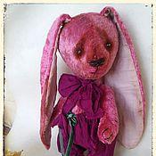Куклы и игрушки ручной работы. Ярмарка Мастеров - ручная работа Пасхальный зайка тедди из винтажного розового плюша  Сёмочка. Handmade.