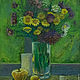 Картины цветов ручной работы. Ярмарка Мастеров - ручная работа. Купить Летний натюрморт. Handmade. Зеленый, фиолетовый цветок, картина