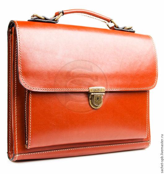 """Мужские сумки ручной работы. Ярмарка Мастеров - ручная работа. Купить Деловой кожаный портфель """" Мини"""" темно- рыжий. Handmade."""
