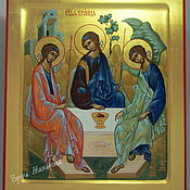 Картины и панно handmade. Livemaster - original item HOLY TRINITY , hand painted icon on gold. Handmade.