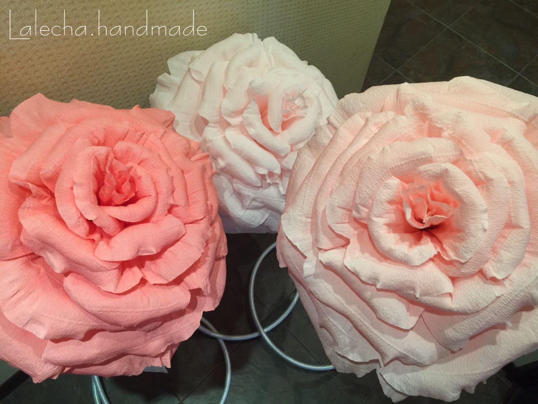 Большая роза из гофробумаги своими руками