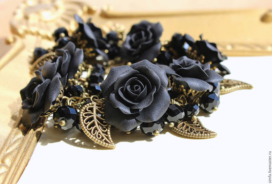 Браслеты ручной работы. Ярмарка Мастеров - ручная работа. Купить Браслет с черными розами. Handmade. Браслет, браслет с камнями, Бижутерия