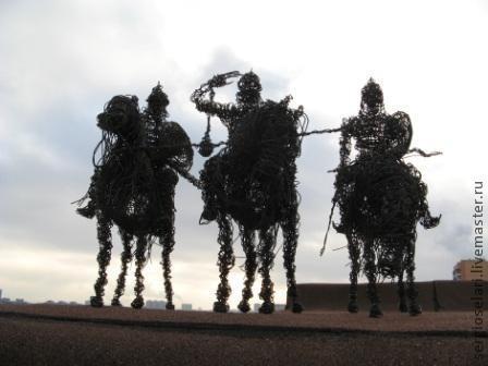 """Статуэтки ручной работы. Ярмарка Мастеров - ручная работа. Купить скульптура  """"три Богатыря"""" по картине В. Васнецова). Handmade. Черный"""
