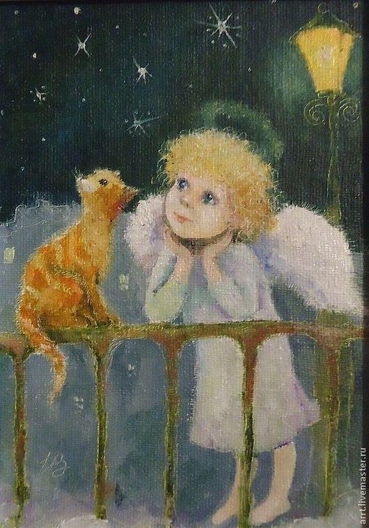 Фантазийные сюжеты ручной работы. Ярмарка Мастеров - ручная работа. Купить Картина Ангел и Рыжий кот Масло картон 13на18см. Handmade.