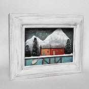 Картины и панно handmade. Livemaster - original item Framed panel, winter version. Handmade.
