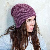 Аксессуары ручной работы. Ярмарка Мастеров - ручная работа Фиолетовая вязаная двойная шапка. Handmade.