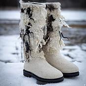 Обувь ручной работы. Ярмарка Мастеров - ручная работа Валенки белые на подошве Снегопад. Handmade.