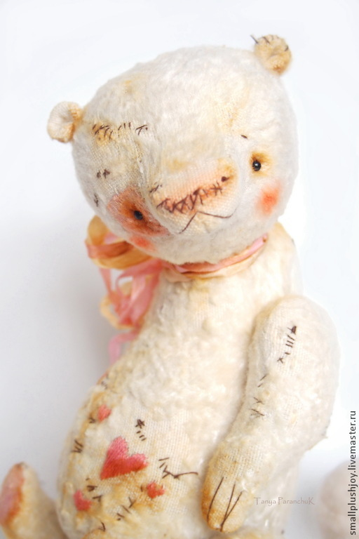 Мишки Тедди ручной работы. Ярмарка Мастеров - ручная работа. Купить Медведь Валик. Handmade. Белый, тедди мишка, шплинты