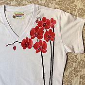 """Одежда ручной работы. Ярмарка Мастеров - ручная работа Футболка с ручной росписью """"Орхидея"""", женская футболка.. Handmade."""