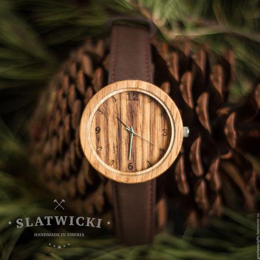 """Часы ручной работы. Ярмарка Мастеров - ручная работа. Купить Наручные часы из дерева. """"Slatwicki"""": зебрано. Handmade. Деревянные часы"""