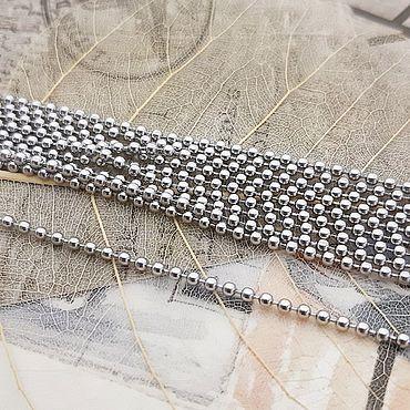 Материалы для творчества. Ярмарка Мастеров - ручная работа 1 м Цепочка стальная шарики 2 мм (3690). Handmade.