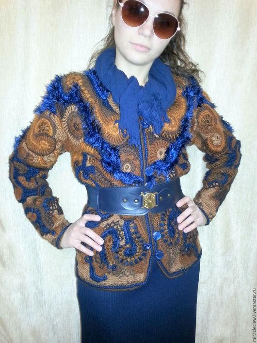 Пиджаки, жакеты ручной работы. Ярмарка Мастеров - ручная работа. Купить вязаный крючком жакет фриформ. Handmade. Комбинированный