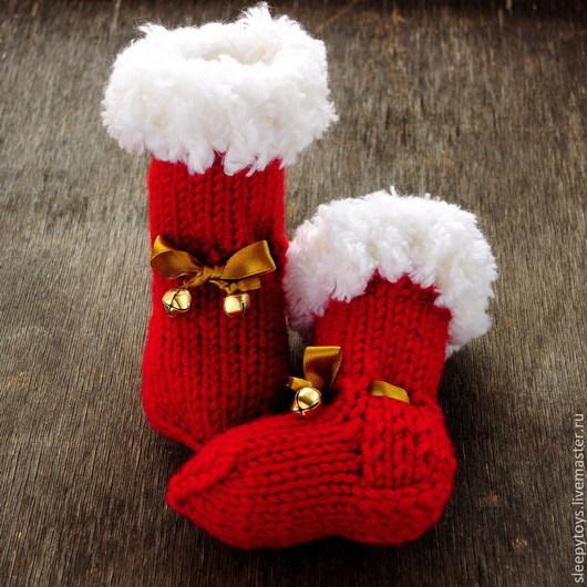 Для новорожденных, ручной работы. Ярмарка Мастеров - ручная работа. Купить Пинетки-носочки Новогодние. Handmade. Пинетки, вязание для малышей