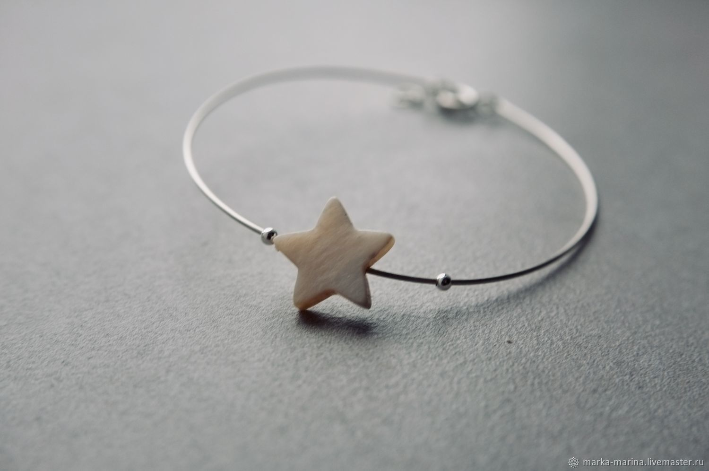 Bracelet from silver wire 'Star', Bead bracelet, Samara,  Фото №1