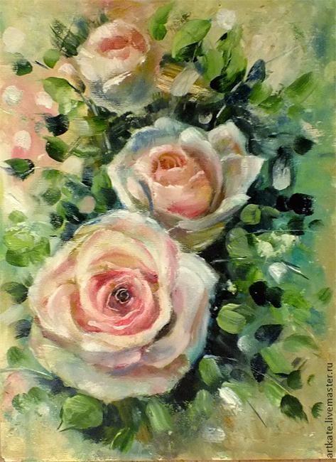 """Картины цветов ручной работы. Ярмарка Мастеров - ручная работа. Купить Картина маслом """"Чайные розы"""". Handmade. Кремовый"""