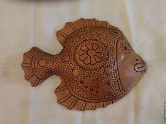 Животные ручной работы. Ярмарка Мастеров - ручная работа. Купить рыбка панно керамика. Handmade. Коричневый, терракота, голубая глина