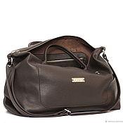 Сумки и аксессуары handmade. Livemaster - original item Brown soft case Bag with shoulder strap with two pockets. Handmade.