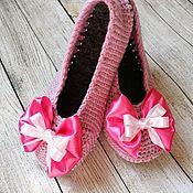 Обувь ручной работы handmade. Livemaster - original item ballet flats: Ballet shoes for the house Slippers flat shoes Crochet ballet flats. Handmade.