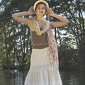 Одежда ручной работы. Ярмарка Мастеров - ручная работа Шелковая белая многоярусная юбка в стиле бохо-шик. Handmade.