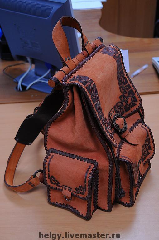 Рюкзаки ручной работы. Ярмарка Мастеров - ручная работа. Купить Рюкзак рыжий с кельтским орнаментом. Handmade. Рюкзак, кожаный рюкзак