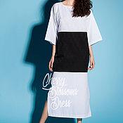 Одежда ручной работы. Ярмарка Мастеров - ручная работа Черно-белое элегантное летнее хлопковое макси платье, большие размеры. Handmade.