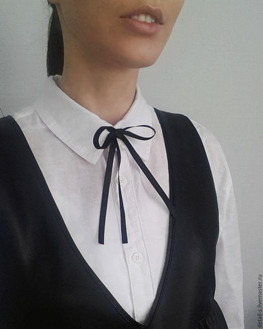 Колье, бусы ручной работы. Ярмарка Мастеров - ручная работа. Купить Декоративная бантик для блузки и рубашки. Handmade. Черный