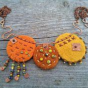 Украшения handmade. Livemaster - original item Necklace Bright Positive Felt Copper Ethno Boho Hippie Style Orange. Handmade.