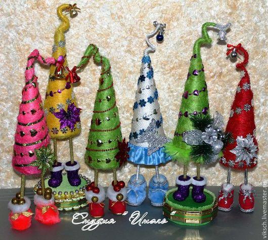 Новый год 2017 ручной работы. Ярмарка Мастеров - ручная работа. Купить Новогодние елочки. Handmade. Сизаль, подарок на новый год