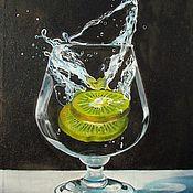 Картины и панно handmade. Livemaster - original item Painting with kiwi fruit in a glass