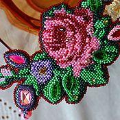 Украшения handmade. Livemaster - original item Embroidered necklace beaded with Swarovski crystals rose in the garden. Handmade.
