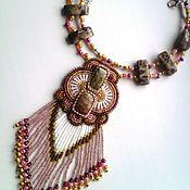 """Украшения ручной работы. Ярмарка Мастеров - ручная работа """"Марго"""": вышитое бисером ожерелье с яшмами и бахромой. Handmade."""