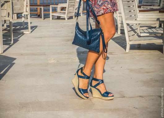 Обувь ручной работы. Ярмарка Мастеров - ручная работа. Купить Туфли из натуральной кожи Fiona. Handmade. Синий, кожаные сумки