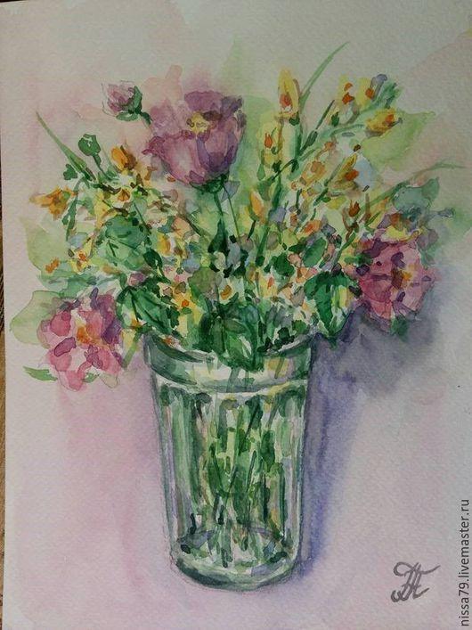 Картины цветов ручной работы. Ярмарка Мастеров - ручная работа. Купить Полевые цветы в стакане. Handmade. Подарок, акварельная картина