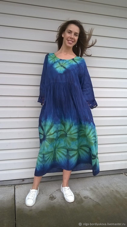 Платье  льняное -окрашено в ручную  : Екатерина, Платья, Смоленск,  Фото №1