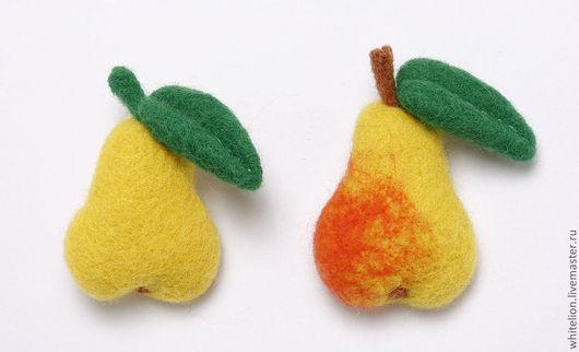 Броши ручной работы. Ярмарка Мастеров - ручная работа. Купить Груша и яблоко. Handmade. Разноцветный, Сухое валяние, фруктоманам