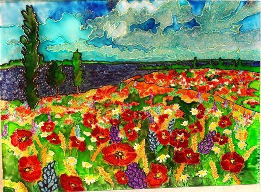 Витражная картина Полевые цветы. Автор: Стасовская Юлия.