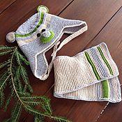 """Работы для детей, ручной работы. Ярмарка Мастеров - ручная работа Комплект """"Мишутка"""": шапочка, шарфик, башмачки. Handmade."""
