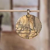 Украшения ручной работы. Ярмарка Мастеров - ручная работа Кулон Кот на ступенях. Handmade.